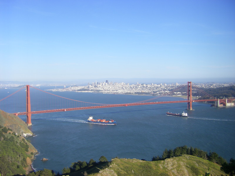 The Golden Gate Bridge seen from Conzelman Road, Marin Headlands.