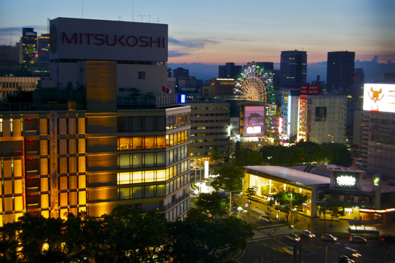 Downtown Nagoya, Japan at night