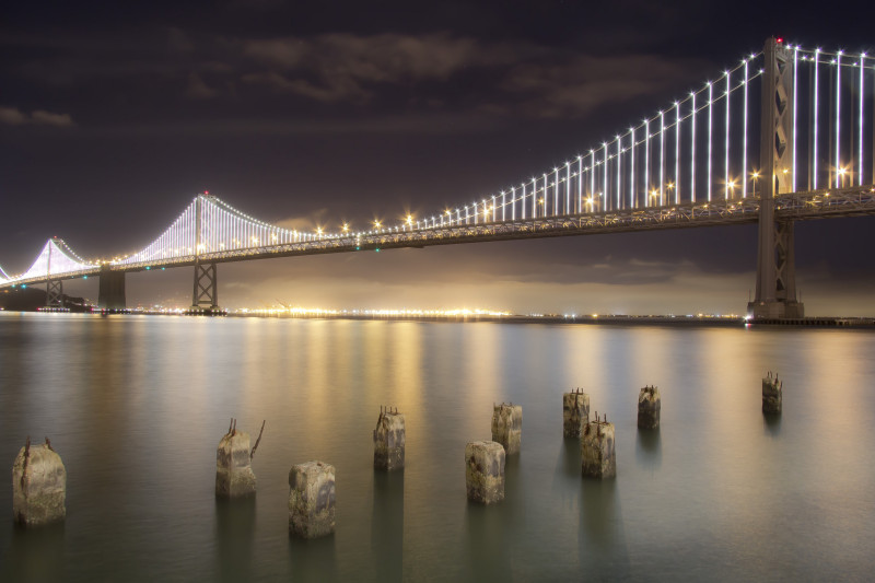San Francisco Bay Bridge Night Lightning