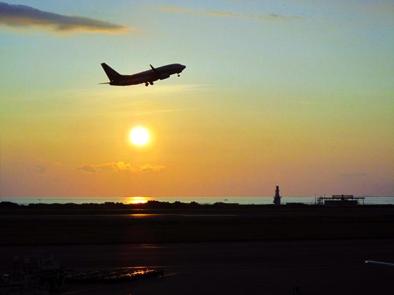 sunset flight naha airport